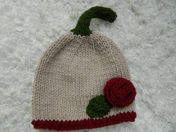 Knit Rose and Leaf Hat Viscose And Dralon Yarn by RodiAndSuzi, $20.00