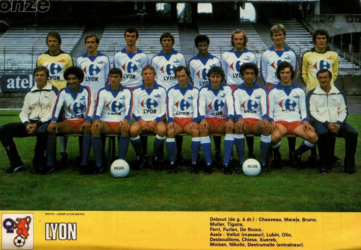 Olympique Lyon Team Group In 1980 Soccer Field Soccer Football Soccer