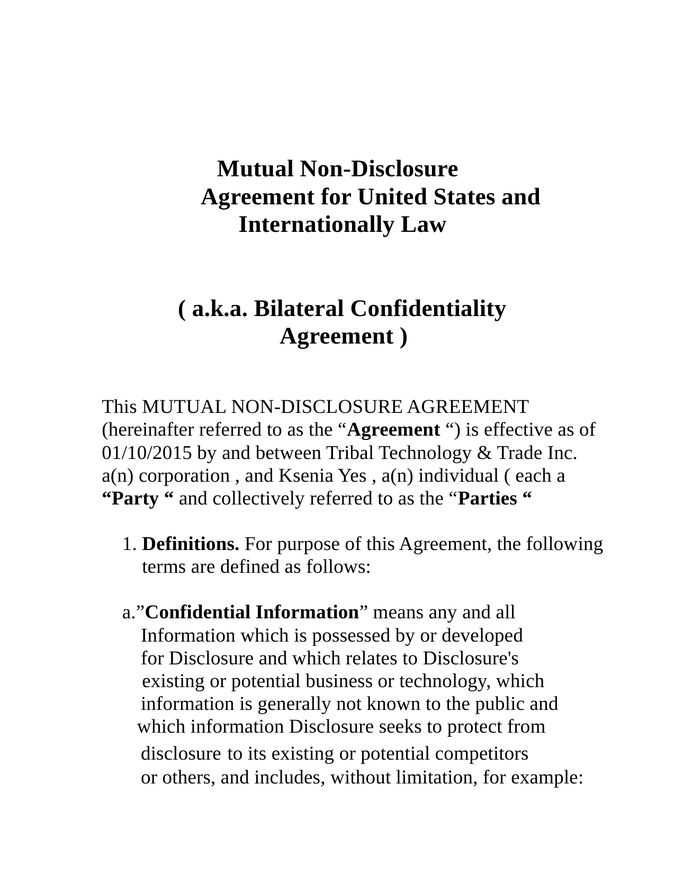 First Nations Voter Information Music and Film Producer \/ Bonded - mutual confidentiality agreements