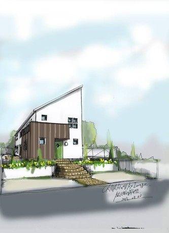 建物外観パース | ナチュラルデザイン住宅