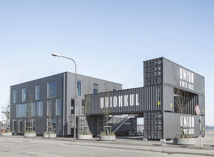 Arcgency designed Unionkul, a cargotecture office in Copenhagen built for easy assembly and disassembly.