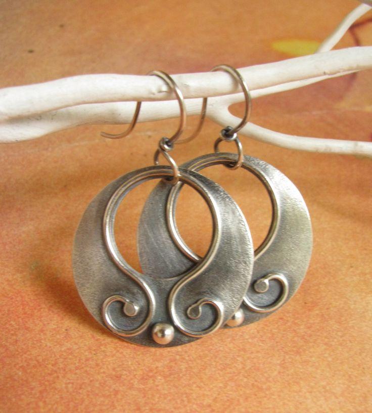 Argentium Sterling Silver Earrings - Gypsy Hoops  - Silver Jewelry - Artisan Jewelry - Gypsy Earrings - Contemporary Metalsmith Earrings by Mocahete on Etsy https://www.etsy.com/listing/172359520/argentium-sterling-silver-earrings-gypsy