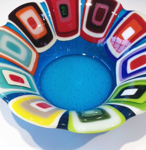 Glass bowl: Blue. 25 cm in diameter. By the danish designer and artist Louise Lagoni.