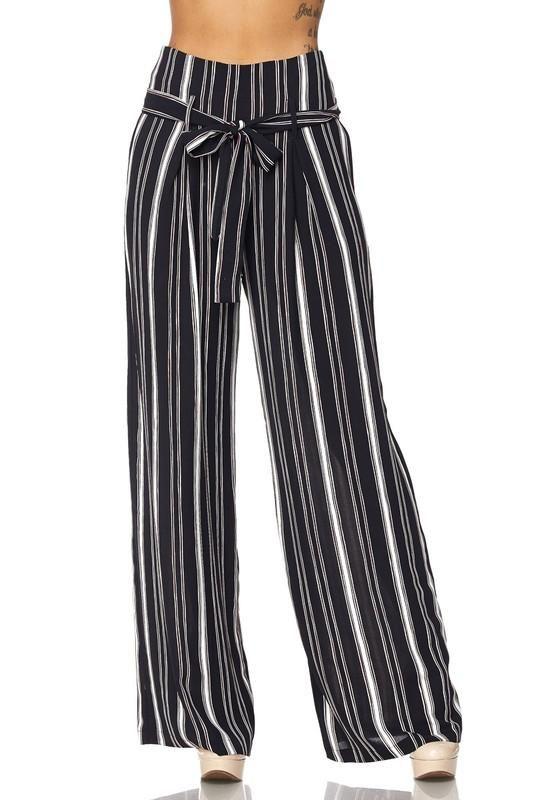 Wide Leg Striped High Waist Pants