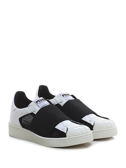 Moa - Sneakers - Donna - Sneaker in pelle e tessuto a retina con suola in gomma. - BLACK\WHITE - € 150.00