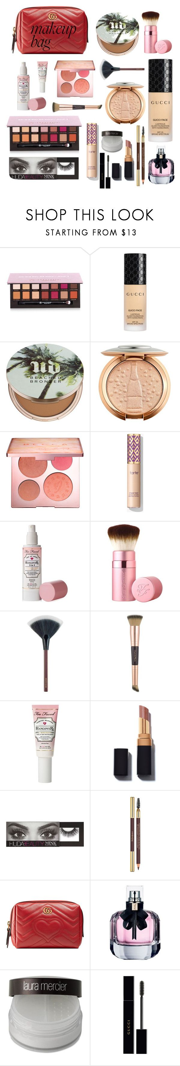 """""""MAKEUP BAG💕"""" by naliasako ❤ liked on Polyvore featuring beauty, Anastasia Beverly Hills, Gucci, Urban Decay, Sephora Collection, Too Faced Cosmetics, Charlotte Tilbury, Huda Beauty, Yves Saint Laurent and Laura Mercier"""