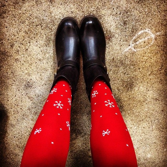 sophielaloux in our red and white snowflake tights on Instagram