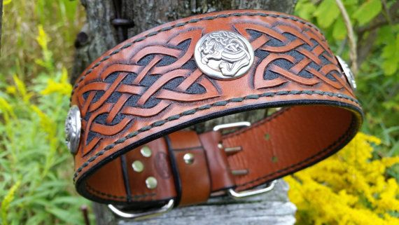 Celtic inspired leather tooled dog collar. by TMPLeatherworks