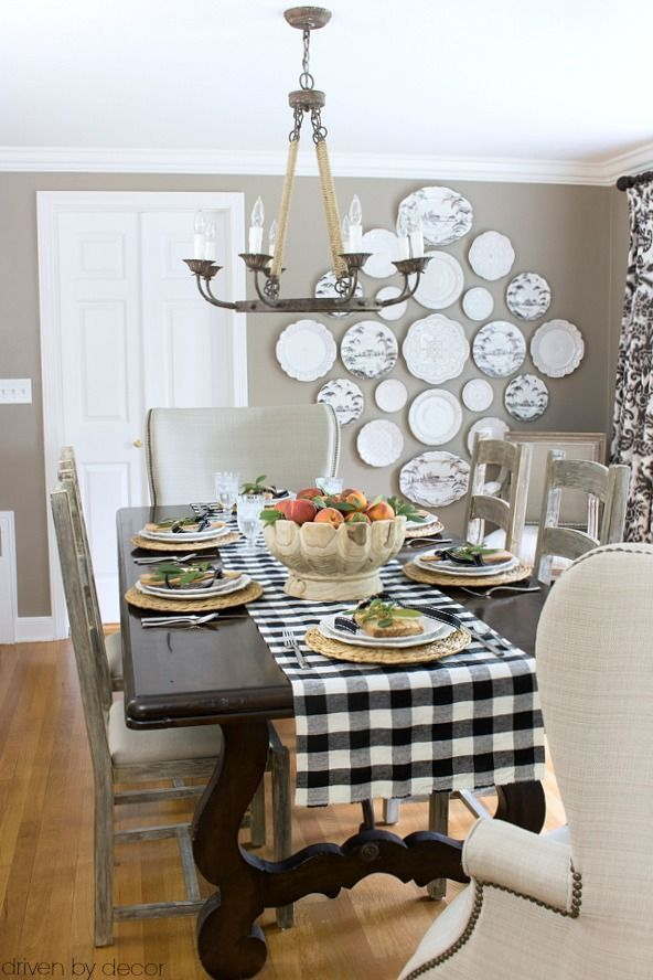 Neutral dining room decorated for fall - part of a full fall home tour post