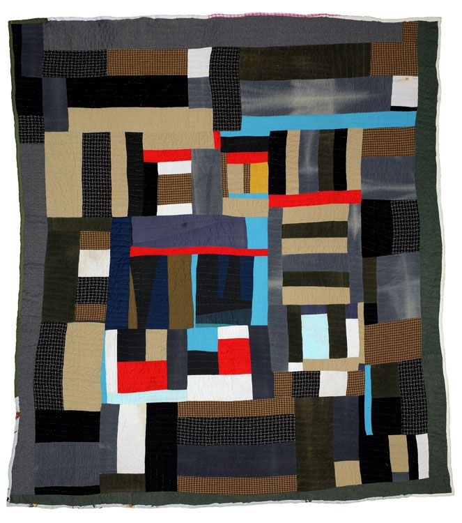 Blocks & Strips Quilt by Mary Lee Bendolph, 2002 (Gee's Bend)