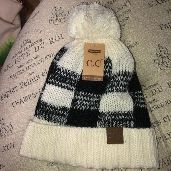 415662741 NWT CC white and black plaid fleece lined hat Brand new with tags CC ...