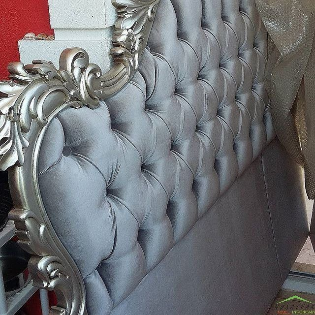 French #Mahogany Bed #Headboard in Antique Silver Finish Aminah by #NusaTeak  PIN: 7658A033 Call WA: 6281908021000 Inquiry: info@nusateak.com Site: NusaTeak.com  #Mebel #Furniture #Meuble #Home #Decor #Interior #FrenchBed #HomeDecor #CarvingBed #Carvings #Table #HomeInterior #MahoganyBed #GreyBed #UpholsterdBed #Fabric #FurnitureDesign #InteriorDesign #Design #Indonesia #Etsy