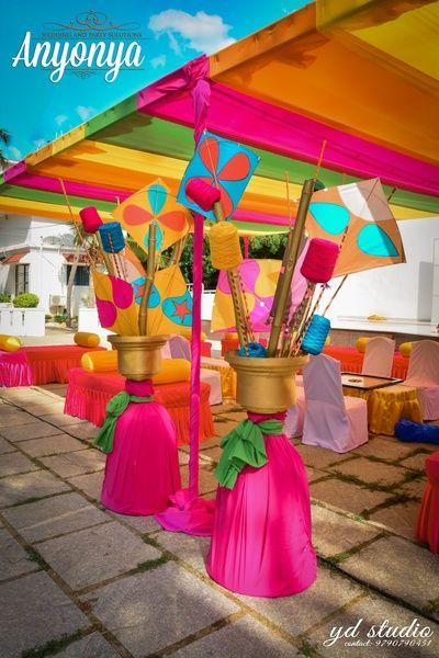 Kites mehendi decor , village theme mehendi