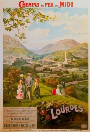 LOURDES Vintage Poster. Affiche publicitaire de chemins de fer du Midi à destination de Lourdes.