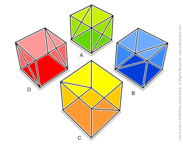 Four Cubes Outlines Puzzle
