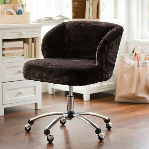 luxe fur wingback desk chair pbteen maybe itu0027s for teens but the adult