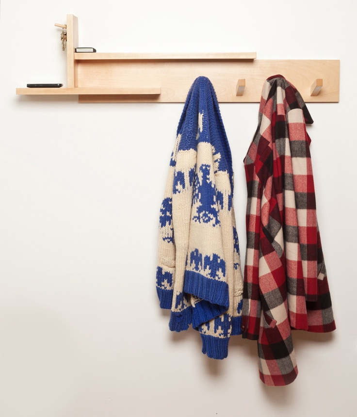 The Toque Wall Rack from Trunk Studio. Two shelves, two key pegs and four jacket hooks. The perfect 'landing pad' for your entryway. Also available in solid walnut.