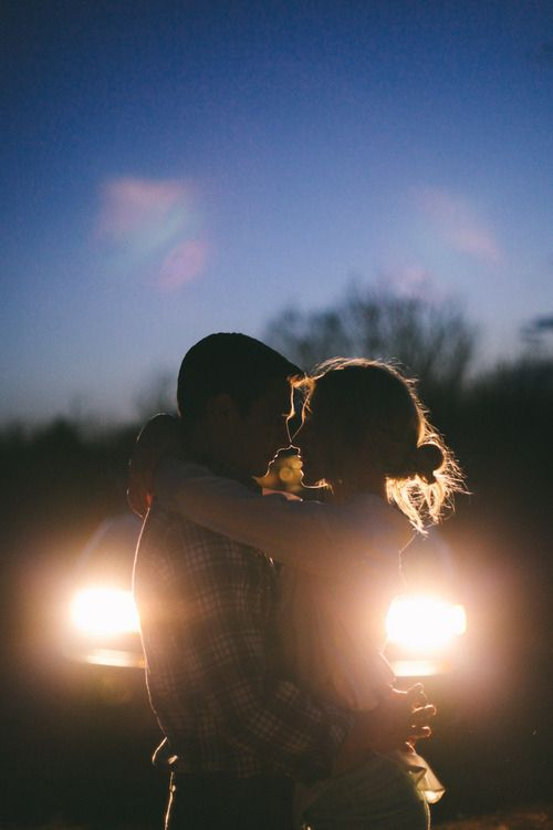 Kiss by headlights love couples kiss night lights outdoors