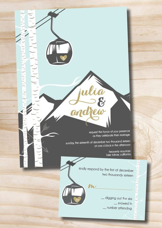 Love this cute Gondola mountain wedding Invitation and by PaperHeartCompany. Ideas for #MammothWeddings