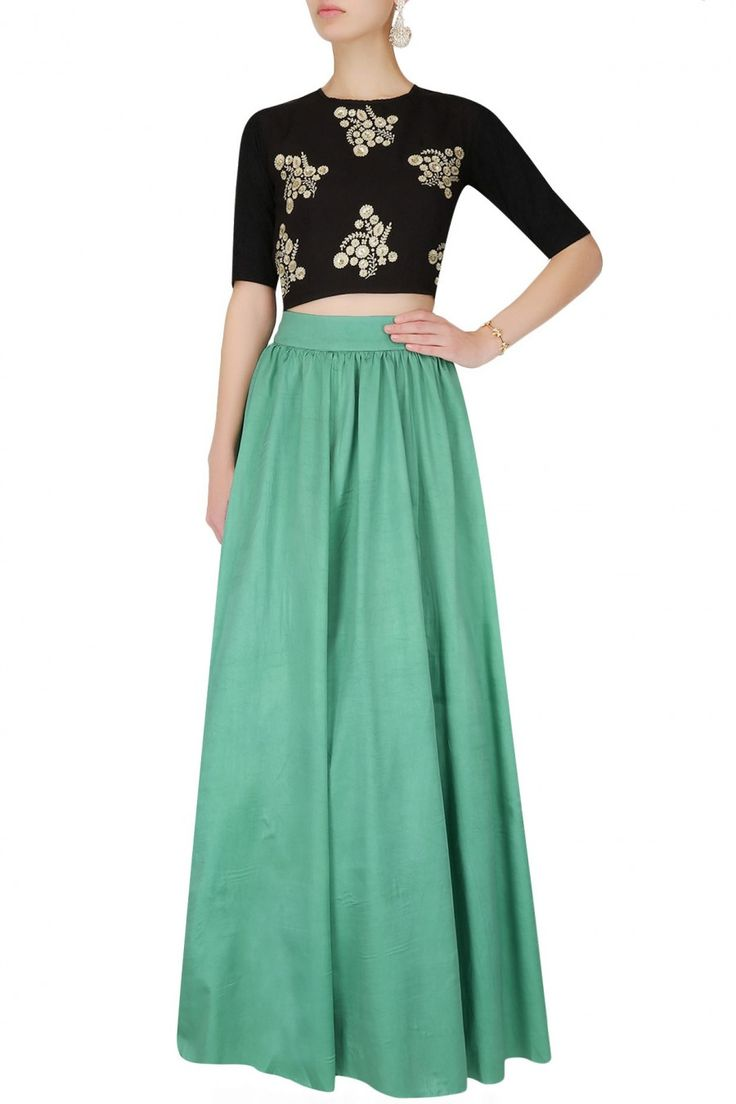 Ridhi Arora - Antique gold beaded lace crop top and skirt