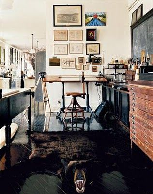 drafting table and typesetter cabinet - NO to the rug.