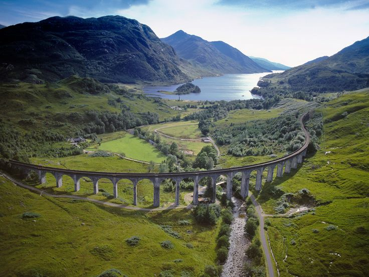 Scotland----Glenfinnan viaduct with loch shiel in the background.