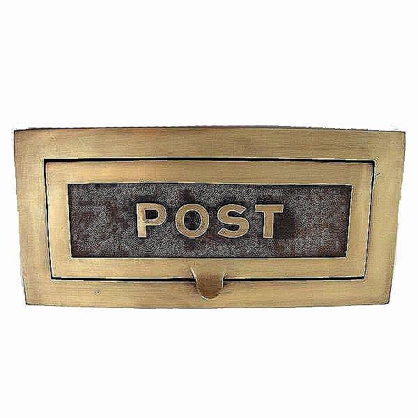 Large Postal Letter Plate Antique Satin Brass 380mm
