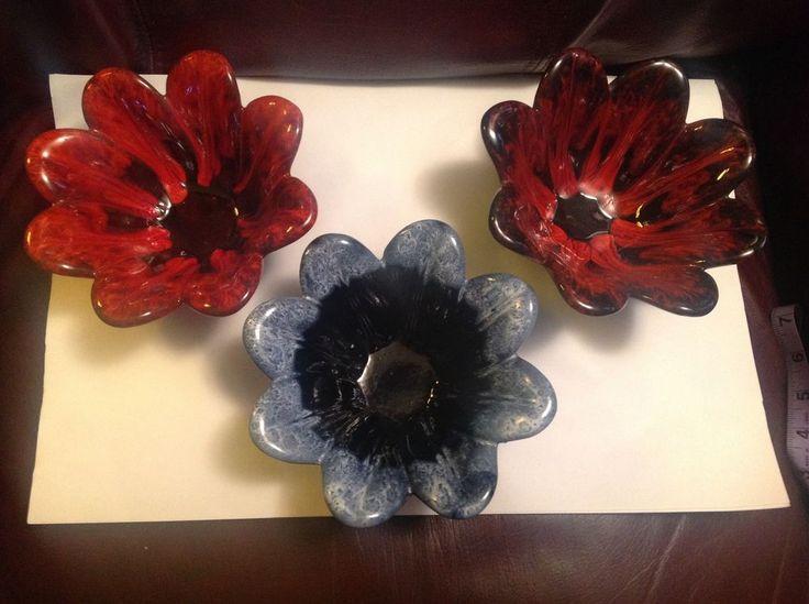 Evangeline Pottery LOT THREE #968 DRIP DISH BOWL red,brown,cobalt blue vintage