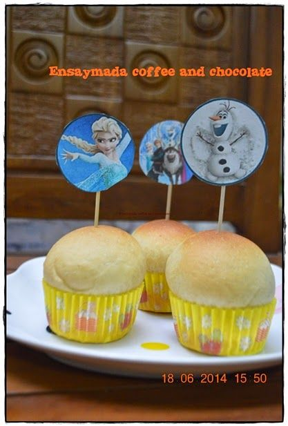 Sweet Bun: Ensaymada coffee and chocolate in cup with cupcake topper