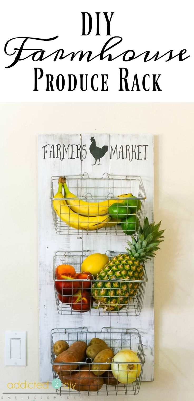 This farmhouse style produce rack is so easy to build and so useful.  There are literally TONS of different places in the house this can be used!
