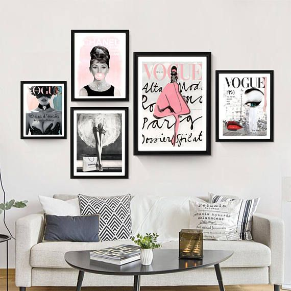 Vogue Posters Fashion Wall Art Chanel Set Of 5 Fashion Prints Printable Audrey Hepburn Home Decor Gift For Her Room Decor Fashion Wall Art Decor