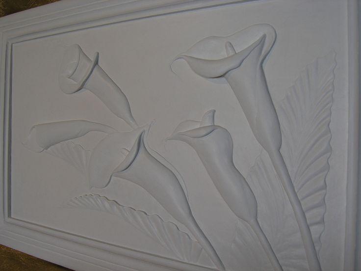 """Объемная картина """"Каллы"""". Гипсовая шпаклевка, акриловая краска, основа - плита осб."""