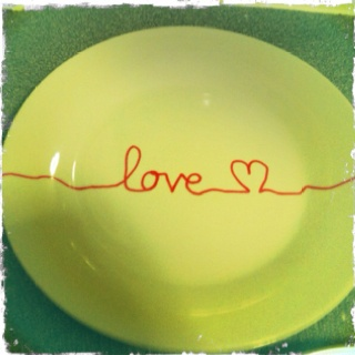 love plate all you need is a plate from the dollar store a sharpie ... write your fav quotes or picture and place in the oven for 30 min and voila your own personal plates