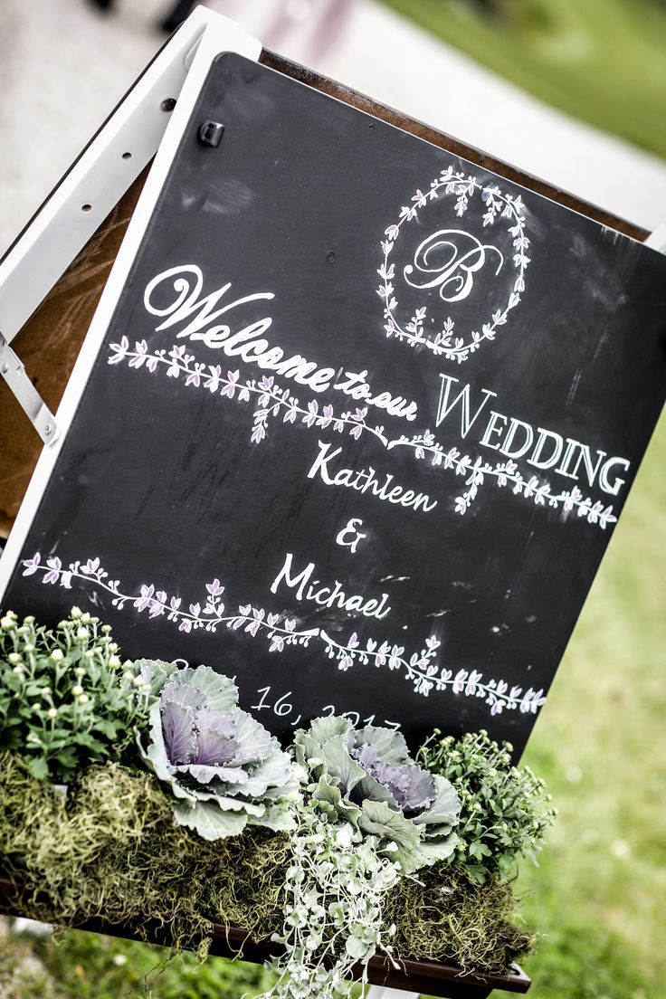 I created our wedding welcome sign using free chalkboard templates microsoft word fonts and a little creativity the easel was a child s easel i found for