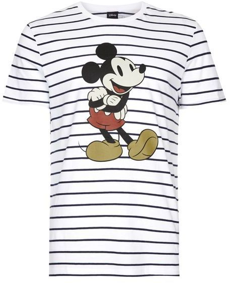 Topman Navy and White Stripe Mickey Mouse T-Shirt