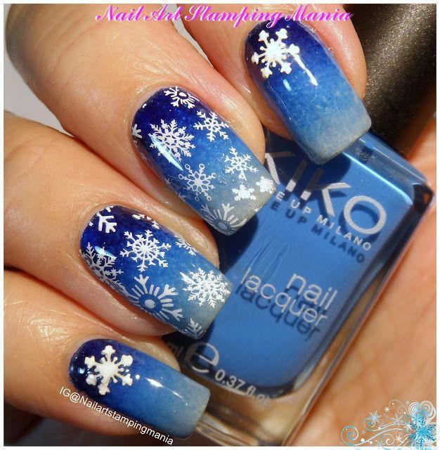 Nail Art Stamping Mania: Snowflakes Manicure with Christmas Nail Art Decoration and QA Plate Nail Design, Nail Art, Nail Salon, Irvine, Newport Beach