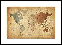 Time Zones Map Of The World Framed Print by Michael Tompsett