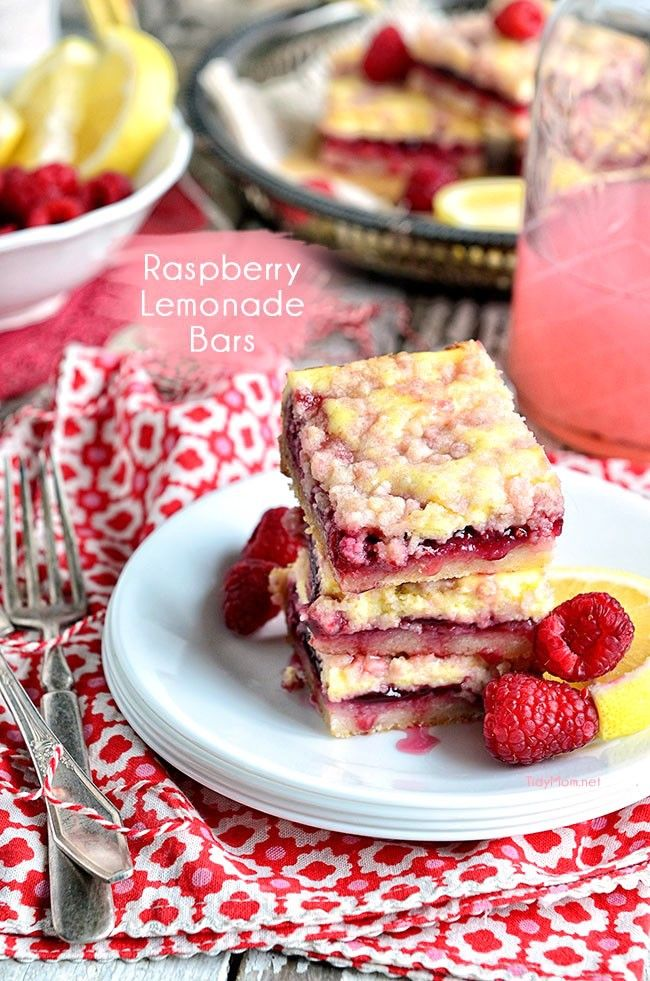 Sweet and tangy raspberry lemonade bars are are bursting with flavor. recipe at TidyMom.net