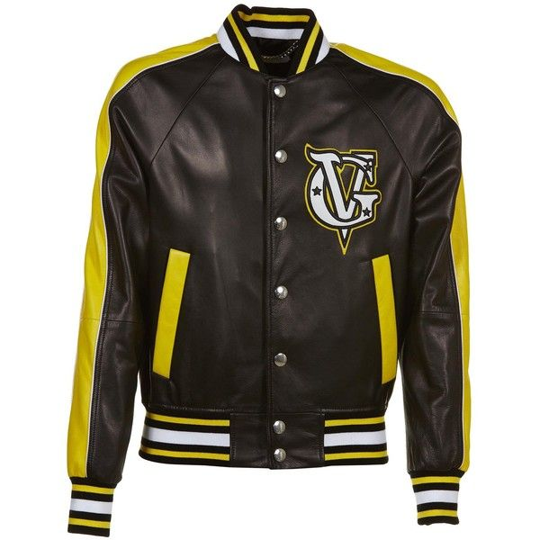 Logo Leather Bomber Jacket ($2,410) ❤ liked on Polyvore featuring men's fashion, men's clothing, men's outerwear, men's jackets, mens leather bomber jacket, mens leather jackets, mens yellow jacket, givenchy mens jacket and mens collared jacket