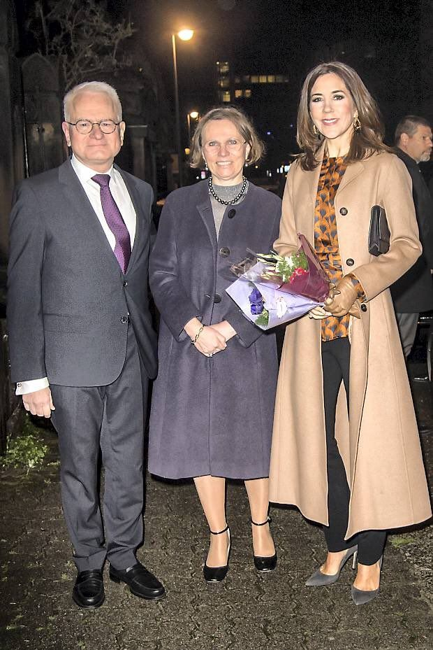Crown Princess Mary participates in a dinner with the Danish Ambassador and Permanent Representative at the Council of Europe in Strasbourg France