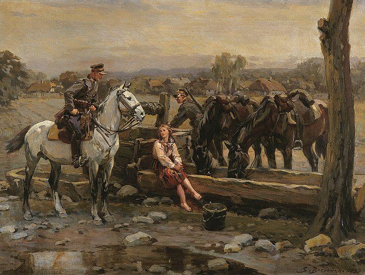 Bagieński Stanisław . Pojenie koni olej, płótno, 74 x 99