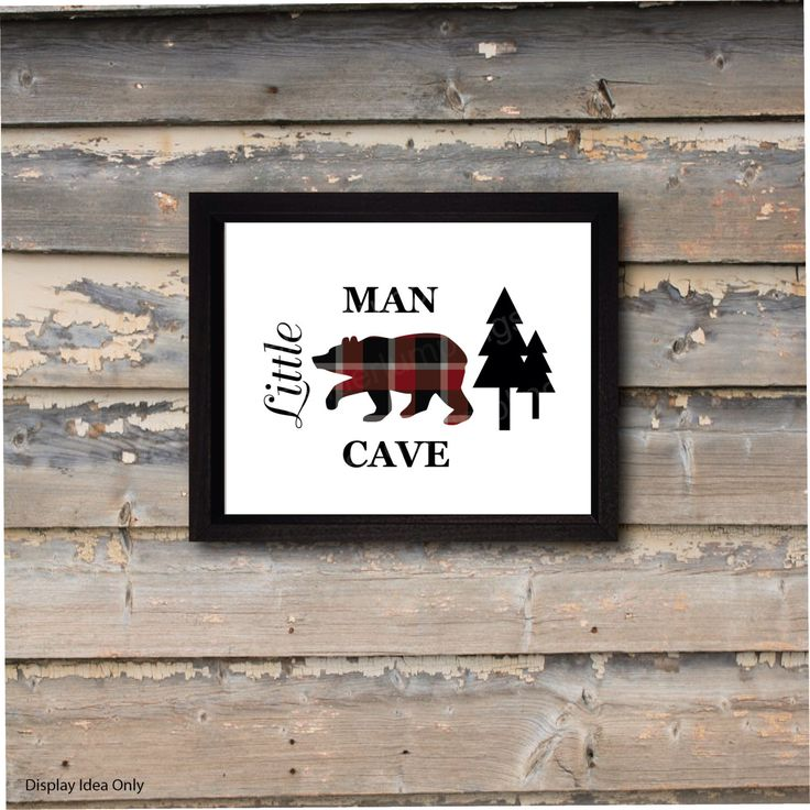 Little Man Cave, nursery wall art, plaid bear, forest woods, outdoors, camping hunting, baby shower gift, baby gifts for boys, boys room by TenderLumplings on Etsy https://www.etsy.com/listing/271779124/little-man-cave-nursery-wall-art-plaid