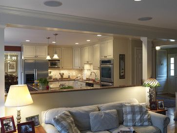This half wall works though still open Kitchen to Family Room. Case Design/Remodeling, Inc. - traditional - kitchen - dc metro - Case Design/Remodeling, Inc.