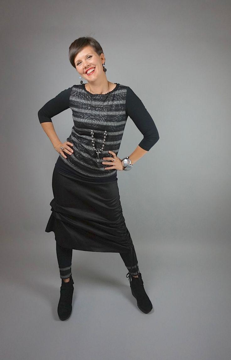 Denim Crunch Skirt by Lousje & Bean: http://www.lousjeandbean.ca/shop/denim-crunch-skirt/ Ruffle Top: http://www.lousjeandbean.ca/shop/ruffle-top/ Stripe Leggings: http://www.lousjeandbean.ca/shop/knit-leggings-strip/ #leggings #uniqueskirt #europeanstyle #lousjeandbean #canadianmade