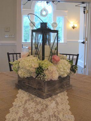 Reception Arrangements, Lanterns and hydrangeas. Love the Babies Breath garland in the window. Atlanta Wedding, Chastain Horse Park. Atlanta Florist