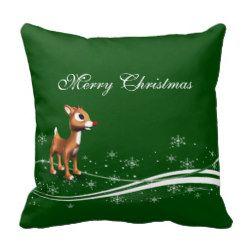 Cute Cartoon Reindeer Christmas Pillow