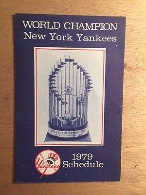 1979 New York Yankees Schedule World Series Trophy Miller Beer EX