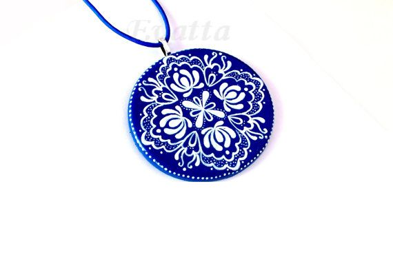 Kalocsa folk necklace Blue by EviJewelry on Etsy, $18.00