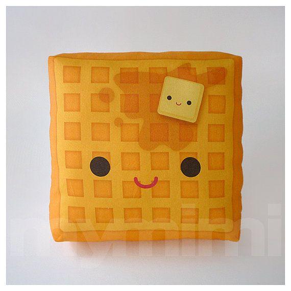 Decorative Pillow, Mini Pillow, Kawaii Print, Toy Pillow - Yummy Waffle. $18.00, via Etsy.