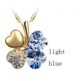 GRATIS Kristallen Klaver Ketting - Lichtblauw (t.w.v. €24,95) - Ketting - Sieraden